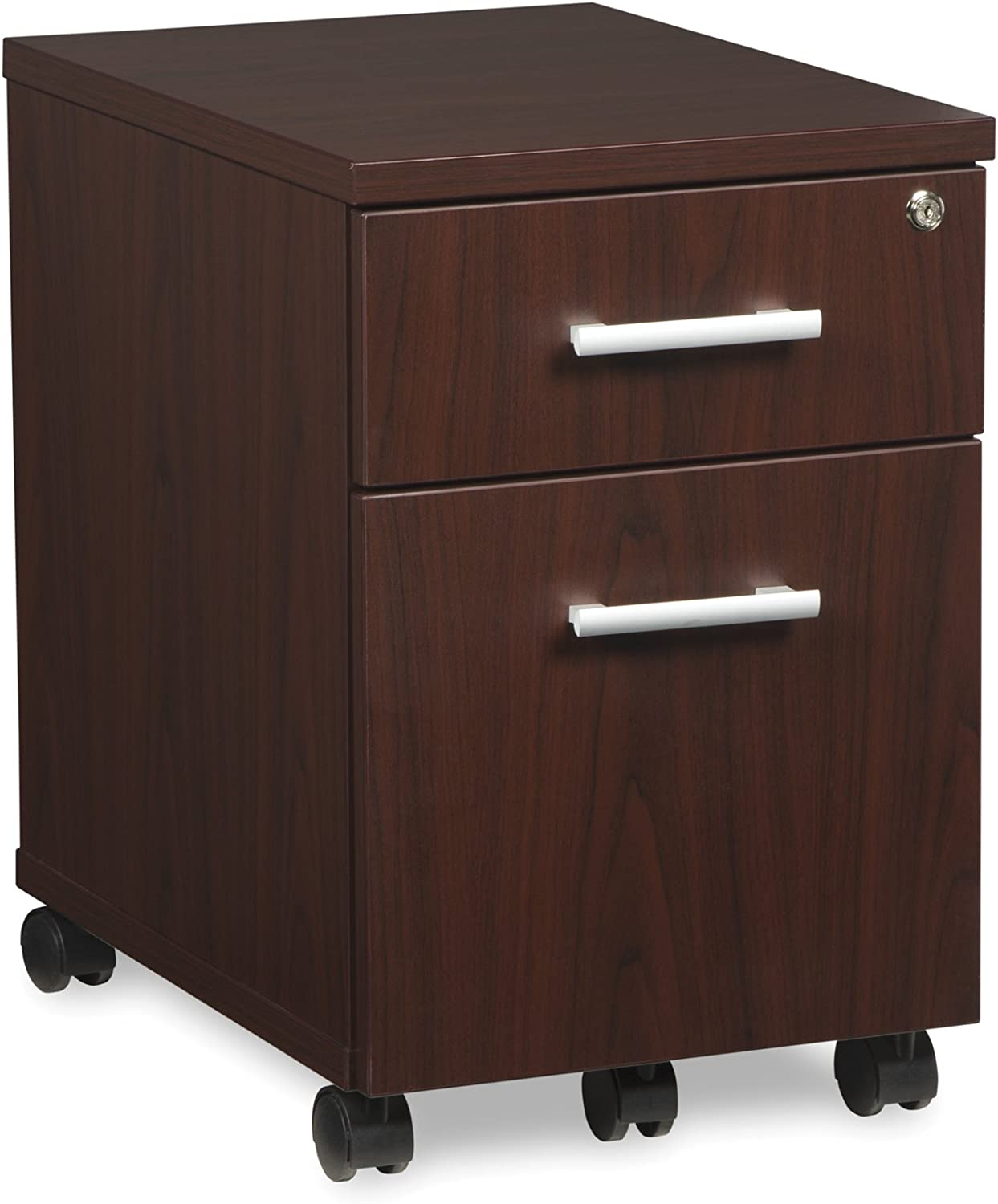 OFM Core Collection Fulcrum Series Locking Pedestal, Mobile 2-Drawer Filing Cabinet, Mahogany