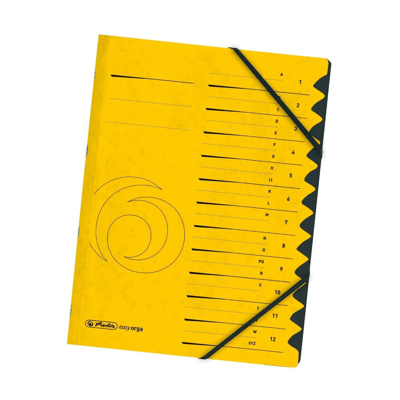 Herlitz 10843316 - Carpeta archivadora con elásticos y señaladores 1 a 12 color azul