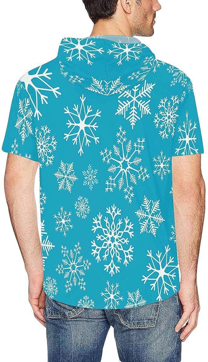 XS-2XL INTERESTPRINT Mens Hoodies Pullover Snowflake Winter Christmas Lightweight Hooded T-Shirt