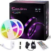 10M Tira LED, COOLAPA Tiras LED RGB 5050 12V con 300 LEDs, Impermeable 65, Iluminación de ambiente, Sync con Música…
