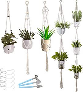BOMAROLAN 5 PCS Macrame Plant Hangers and 5 Sets of Hooks, Hanging Planter Set for Indoor Outdoor Flower, Different Tiers, Handmade Cotton Rope Weaving and Mini 3pcs Durable Spade Shovel Rake.