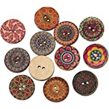 Souarts Mixed Random Shinning Round 2 Holes Wooden Buttons for Sewing Crafting Pack of 100