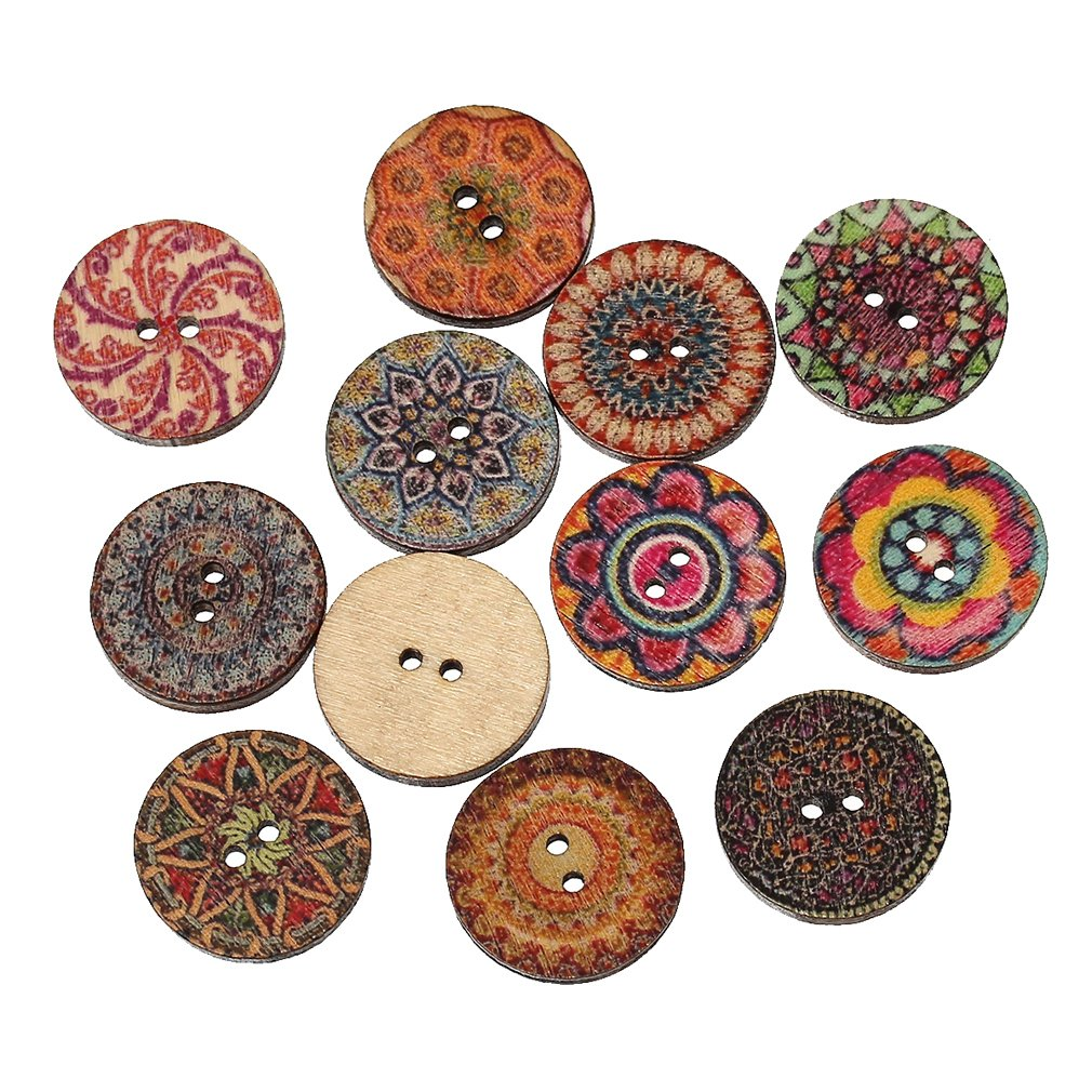 Souarts Mixed Random Shinning Round 2 Holes Wooden Buttons for Sewing Crafting Pack of 100 Hellocrafts