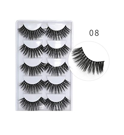 df138ae2c82 Amazon.com : New 3D 100% 5 Pairs mink eyelashes natural thick real false 3  pairs lashes fur strip fake eye lashes extension, 08 : Beauty