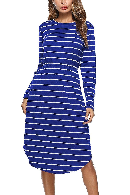 849cb586bb22 WIWIQS Damen Langarm-Kleid-beiläufige Knielänge Kleid mit Elastischem Bund   Amazon.de  Bekleidung