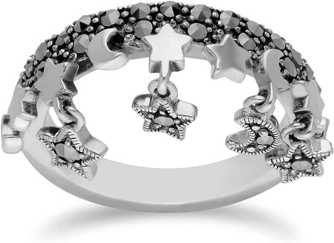 Gemondo Sterling Silver Garnet /& Marcasite Ring