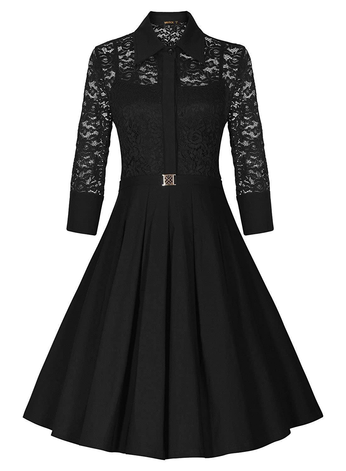 Black dress v neck 3 4 sleeves - Missmay Women S Vintage 1950s Style 3 4 Sleeve Black Lace Flare A Line Dress At Amazon Women S Clothing Store