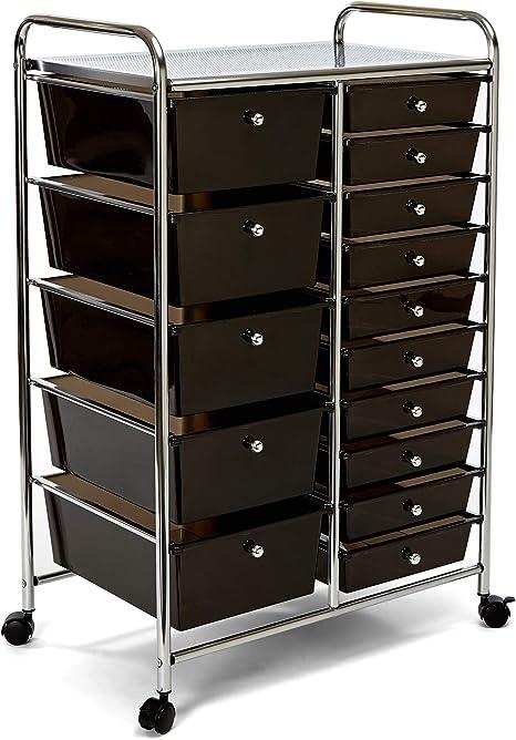 Seville Classics 15-Drawer Multipurpose Mobile Rolling Utility Storage Organizer Cart, Translucent Black