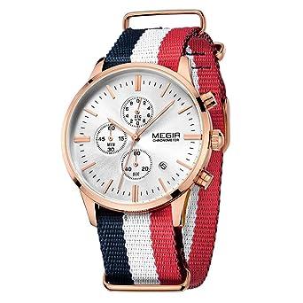 MEGIR Mens Watches Fashion Rose Gold Quartz Wristwatches Canvas Strap relojes