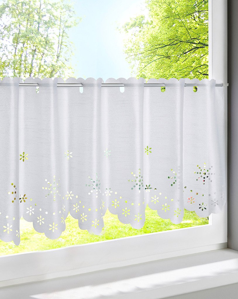 LivebyCare Floral Hollow Out Window Curtain Tier and Valance Rod Pocket Grommet Top Window Treatment Voile Drape Drapery Panels for Home Decor Decorative