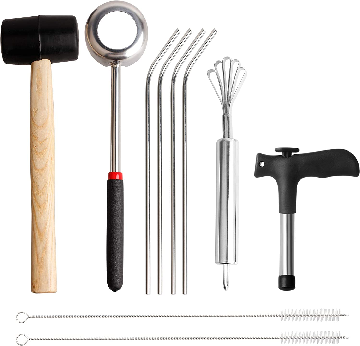 YiePhiot Coconut Opener Tools with Hammer, Food Grade Stainless Steel Scraper, Drinking Straws, Punch Tap Knife Coconut Opener Set, Rubber Mallet with Handle