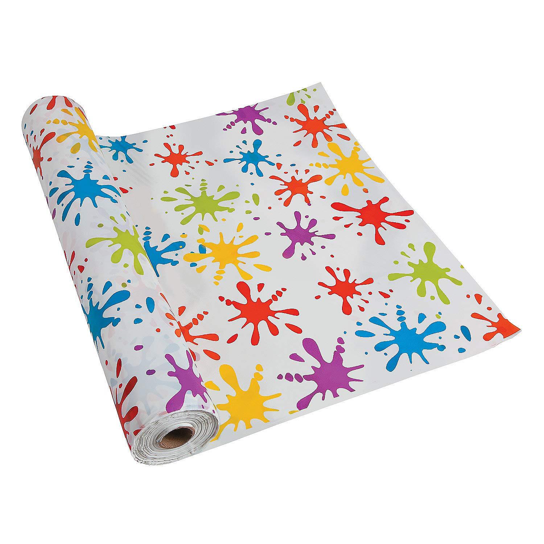 Paint Splatter Tablecloth Roll (100 feet long) Art Party Supplies by Fun Express