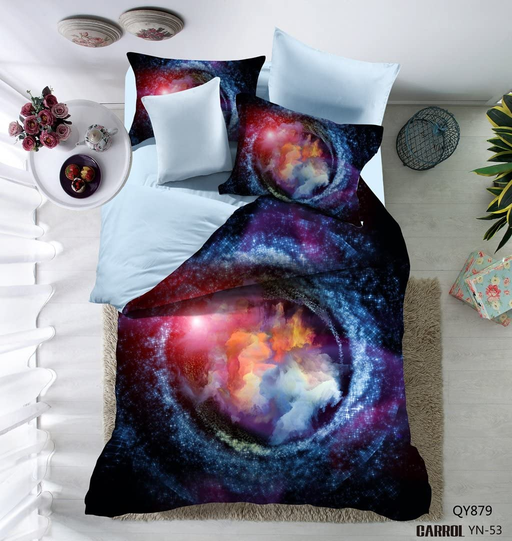 Prom Bedding 100% Brushed Polyester Microfiber 3PC Duvet Cover Set 3D Galaxy Blue Bedding Set Queen Size