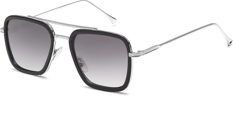 SHEEN KELLY Rétro square des lunettes de soleil cadre métallique pour hommes et femmes lunettes de soleil classique downey iron man Noir lens