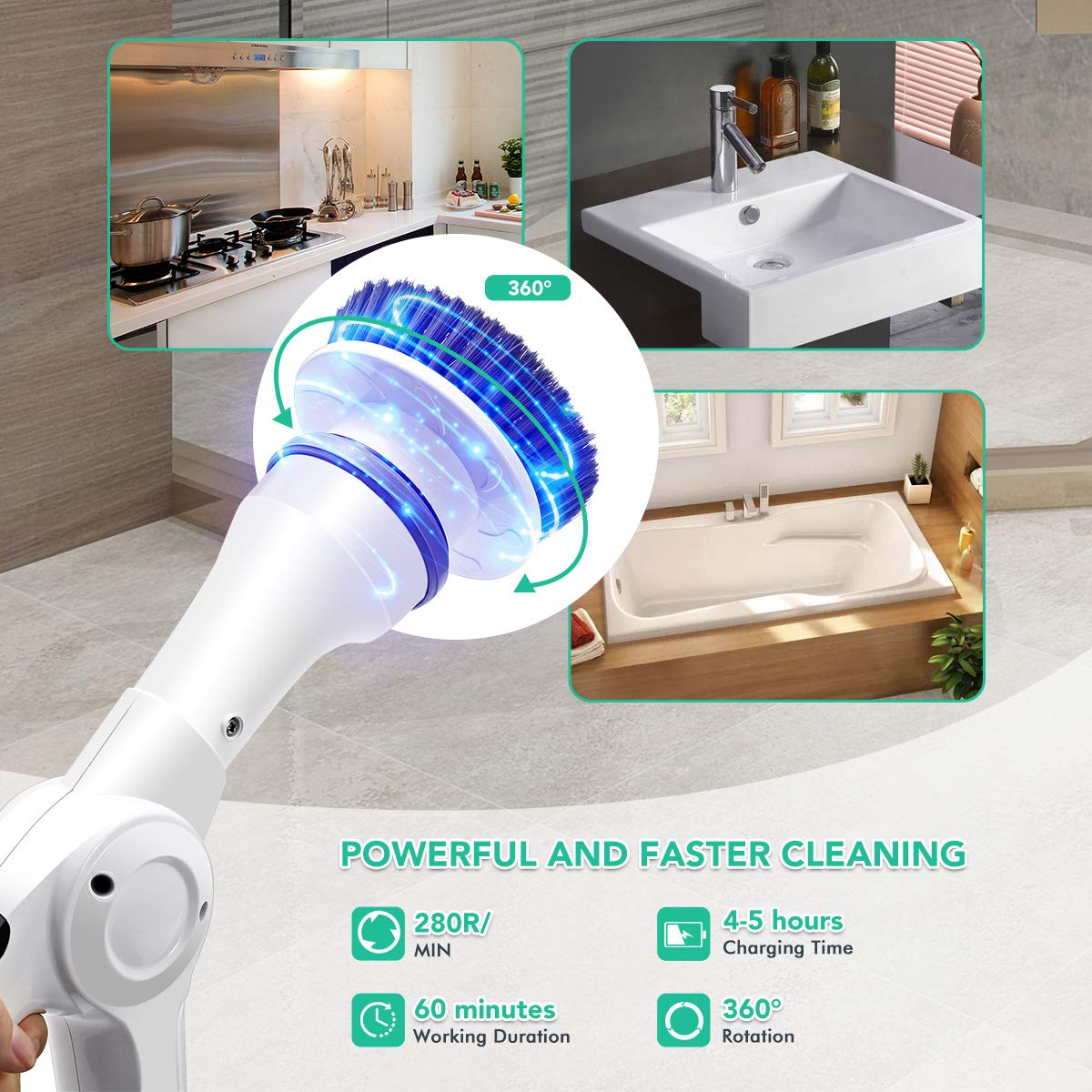 MECO Electric Spin Scrubber Power Cordless Tub and Tile Scrubber, 360 Handheld Cleaning supplies with 3 Replaceable Brush Heads, High Rotation for Bathroom, Floor, Kitchen, Car, Sink, Wall, Window by MECO (Image #6)