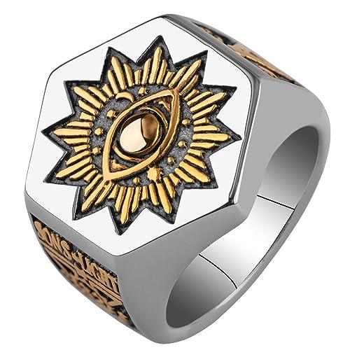 Buy Gothic Lolita Men's Sun Devil Eyes Hexagon Masonic Stainless Steel  Freemason Totem Ring (11) at Amazon.in