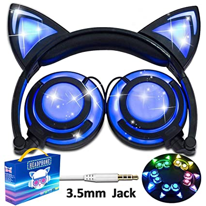 Amazon Com Glowing Cat Ear Headphones For Kids Girls Boys Toddlers