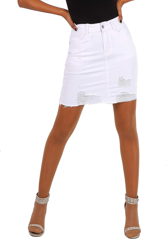 New Play Falda Vaquera para Mujer Minifalda Jeans Blanco Casual ...