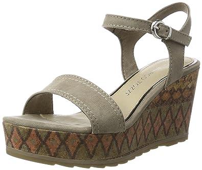 MARCO TOZZI Damen 28359 Offene Sandalen mit Keilabsatz, Beige (Taupe 341),  39 94b9f3b941