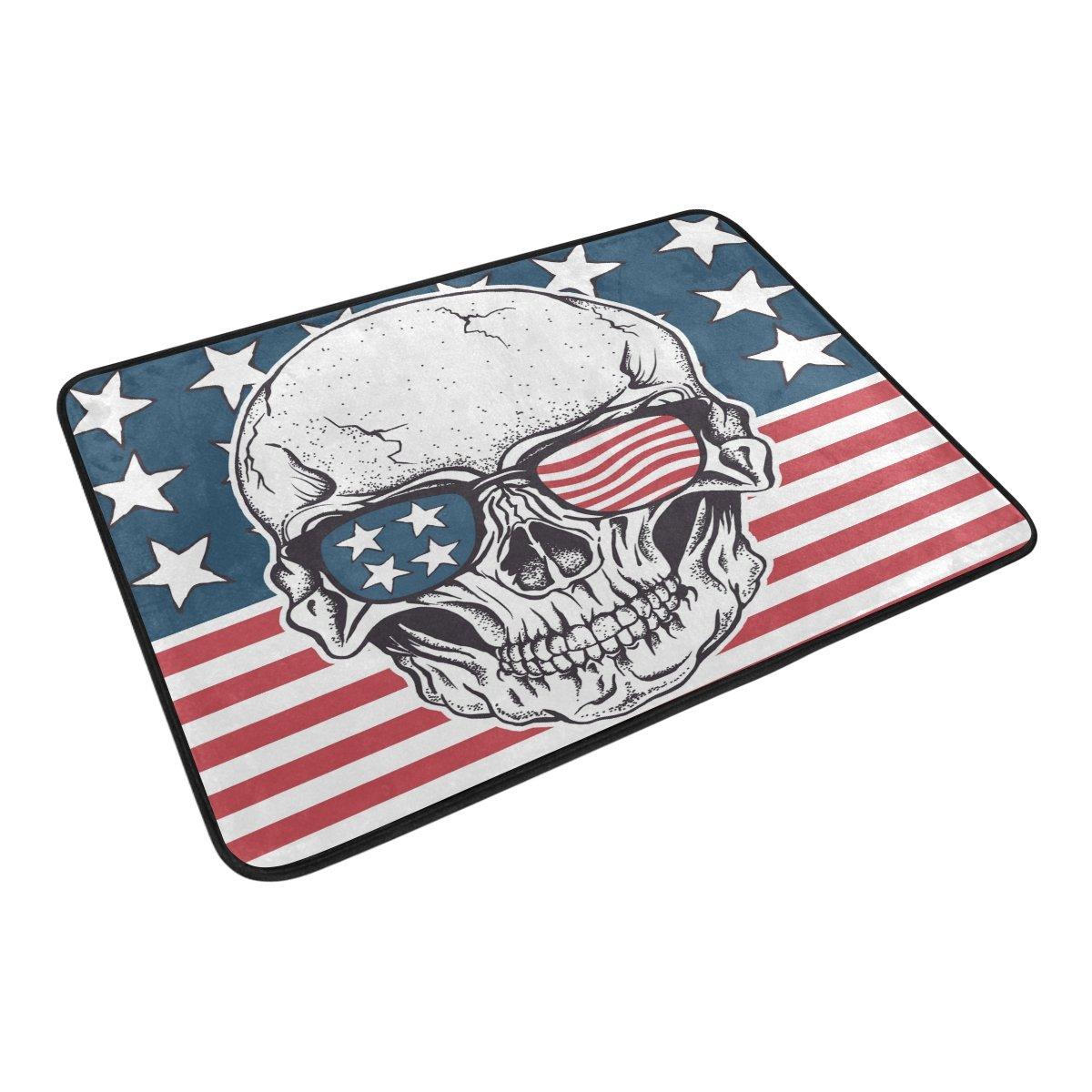 Alfombrilla de baño, Calavera la Bandera Americana Imprimir Antideslizante Anti Molde fácil seco Felpudo Alfombra para habitación de Ducha baño Puerta ...