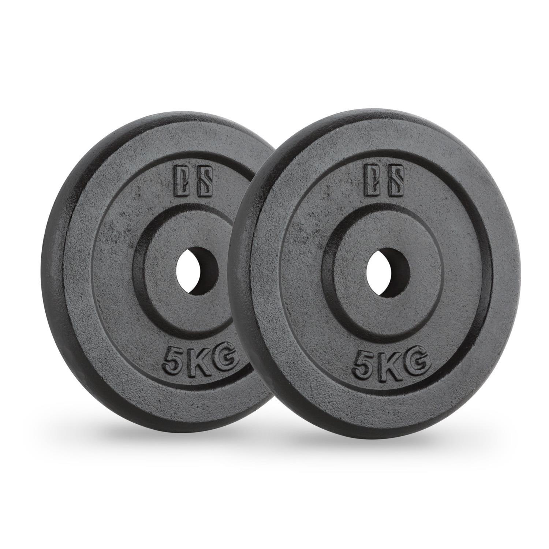 CapitalSports Capital Sports IPB 5 Pareja de Discos para mancuerna Gimnasio (par 30mm 5 kg Cada uno, película Protectora Negra, terminación Hierro Fundido, ...