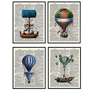 Colorful Balloon Unframed Dictionary Wall Art Prints - Great Gift for Steampunk Fans and Hot Air Balloon Enthusiasts - Chic Home Decor - Ready to Frame - Set of Four (8x10) Vintage Photos