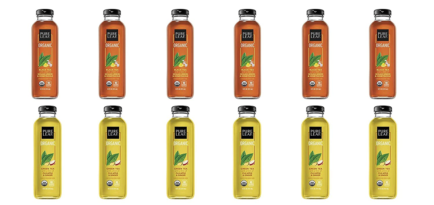 LUV BOX- Variety Pure Leaf Tea House Pack 14oz Glass Bottle, 12ct,Black Tea Sicilian Lemon Honeysuckle, Green Tea Fuji Apple Ginger
