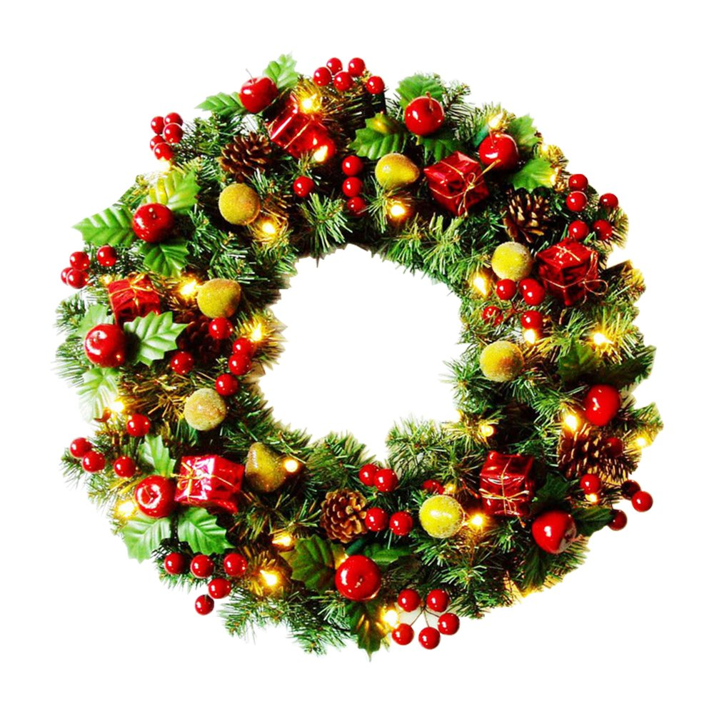 ElementDigital Christmas Wreaths with LED Lights Pre-lit Wreath Green Bristle Pine Needles Red Cherry Gifts Fruits Ornaments for Front Door Window Fireplace Home Decoration 19.5 inch by ElementDigital