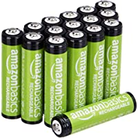 Amazon Basics Pacote com 16 pilhas AAA com capacidade de desempenho de 800 mAh recarregáveis, pré-carregadas, podem ser…