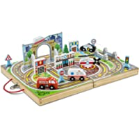 Melissa & Doug Take-Along Town (Wooden Portable Play Surface, 18 Pieces)