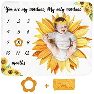Baby Monthly Milestone Blanket Girl - Sunflower Newborn Month Blanket Personalized Shower Gift Floral Nursery Decor Flower Photography Background Prop with Frame Headband Large 51''x40''