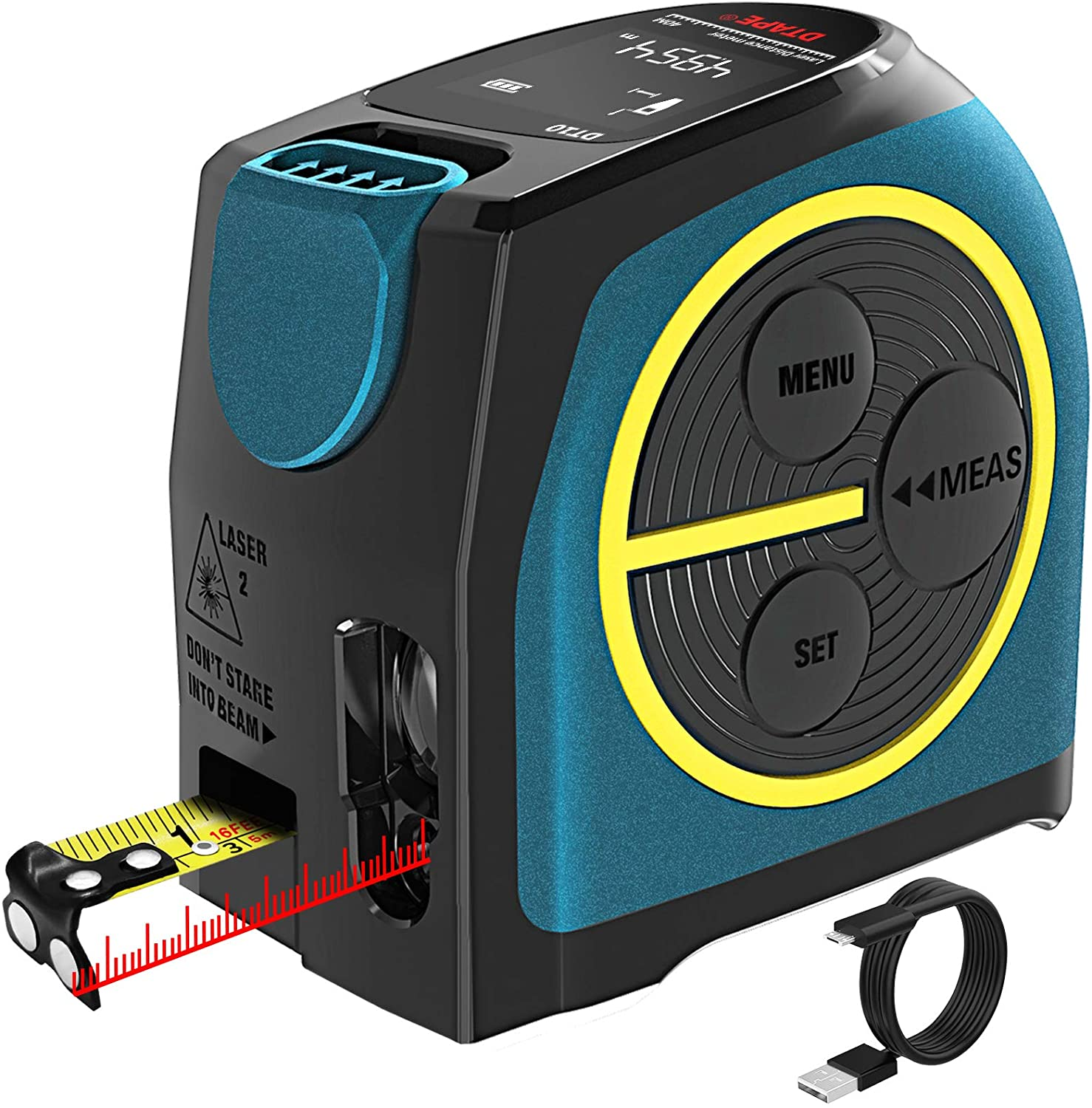 2 in 1 Laser Measuring Tape LCD Display with Li Battery Power 131Ft and 16Ft