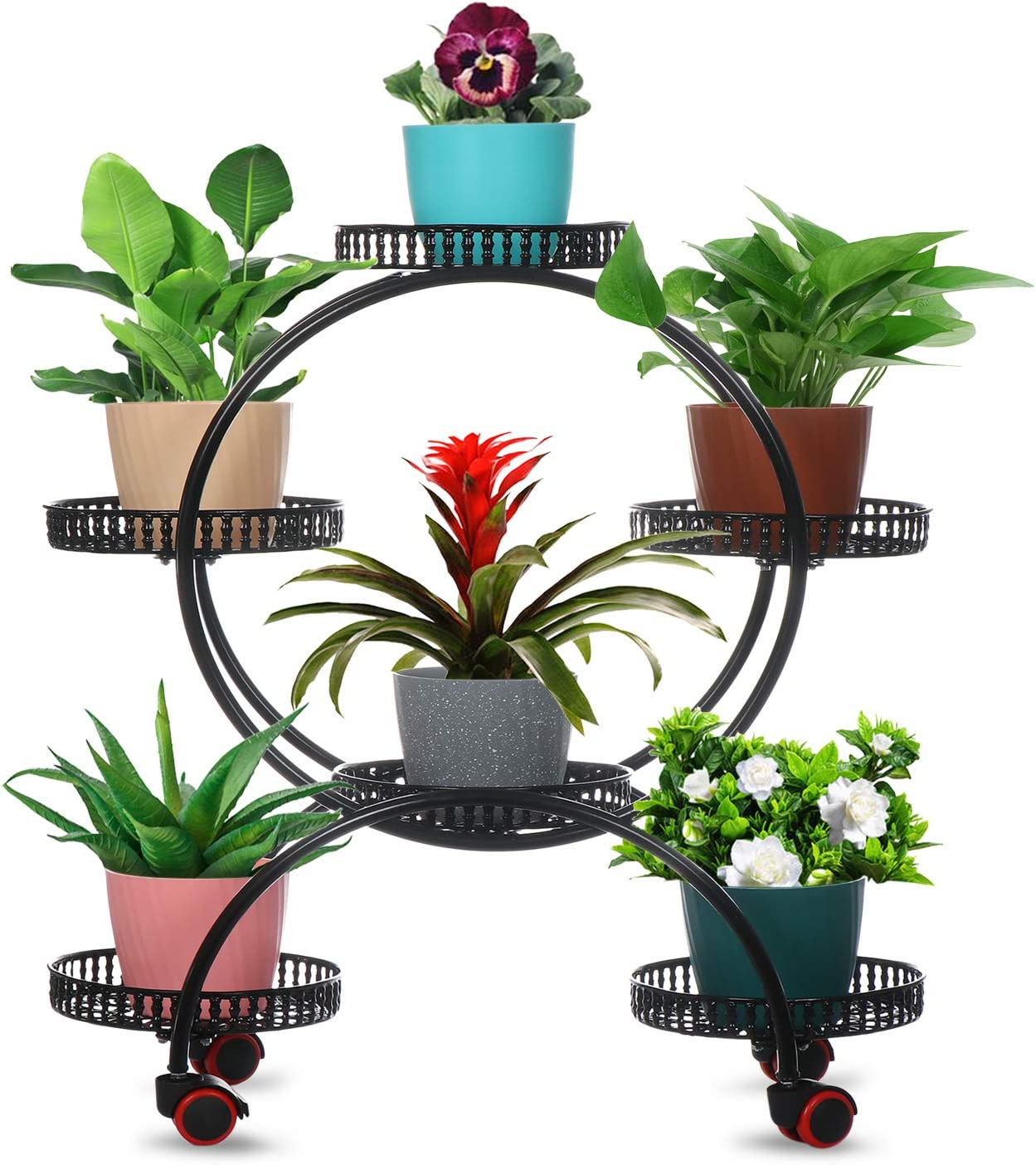 Metal Plant Stand,4 Tiers 6 Potted Holders,Indoor Outdoor Plants Flower Rack,Plant Shelf with Wheels,Rolling Plant Rack for Patio Garden Living Room Balcony (Plant Pots NOT Included) (Black)