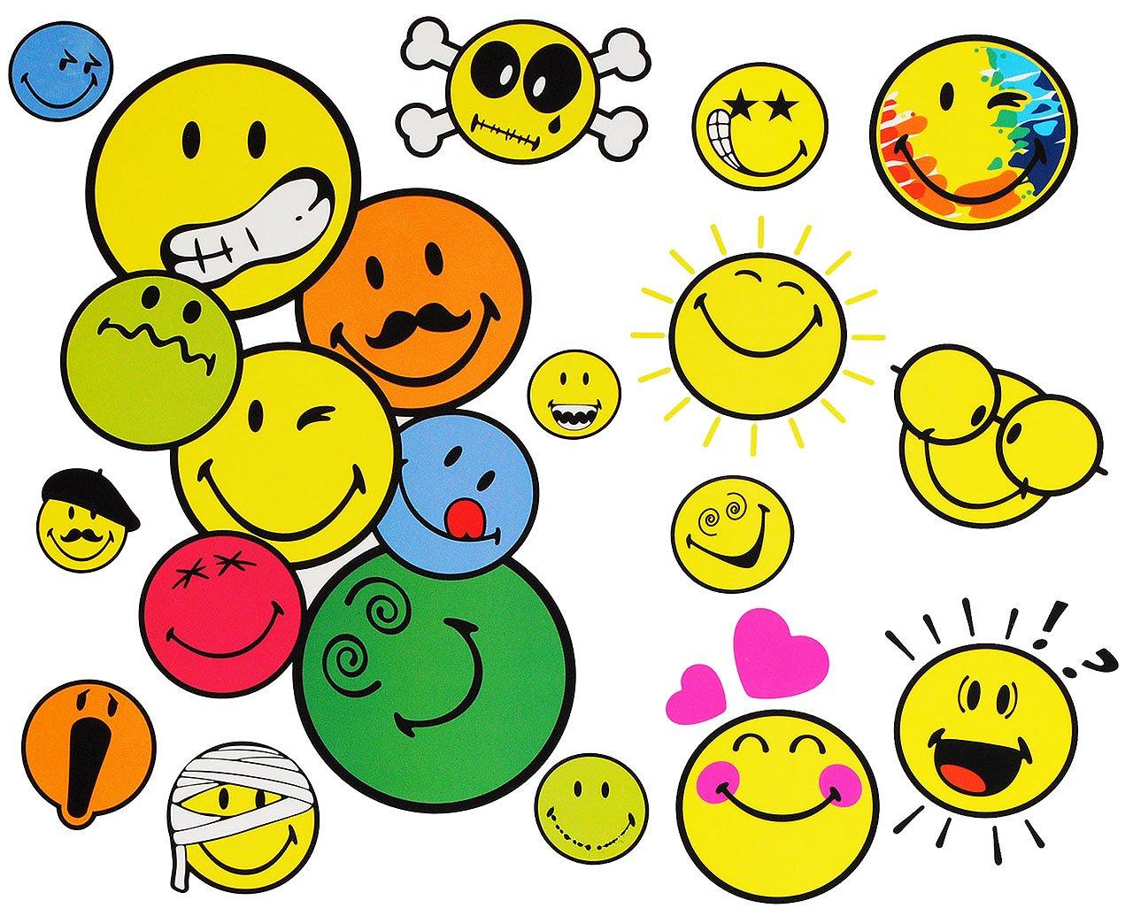 Unbekannt 15 TLG. Set _ Wandtattoo / Sticker + Fensterbilder -  Smiley World / Smilie  - incl. Name - Wandsticker + Fenstersticker - Aufkleber für Kinderzimmer - Smil..