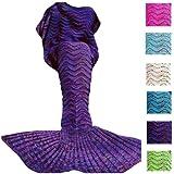 Amazon Price History for:Fu Store Purple Mermaid Tail Blanket For Kids Teens Adult Handmade Wave Mermaid Blankets Crochet Knitting Blanket Seasons Warm Soft Sleeping Bag Best Gift for Birthday Christmas 71''x35''