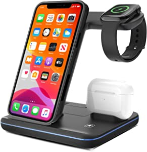 Innens 15W Wireless Charger Station, 3-in-1 Fast Wireless Charging Dock Stand for iPhone 11/11 Pro/11 Pro Max/Xs Max/XS/XR/8, Galaxy S20 S20 Plus S20 Ultra, Note 20/20 Ultra, Apple Watch, Airpods