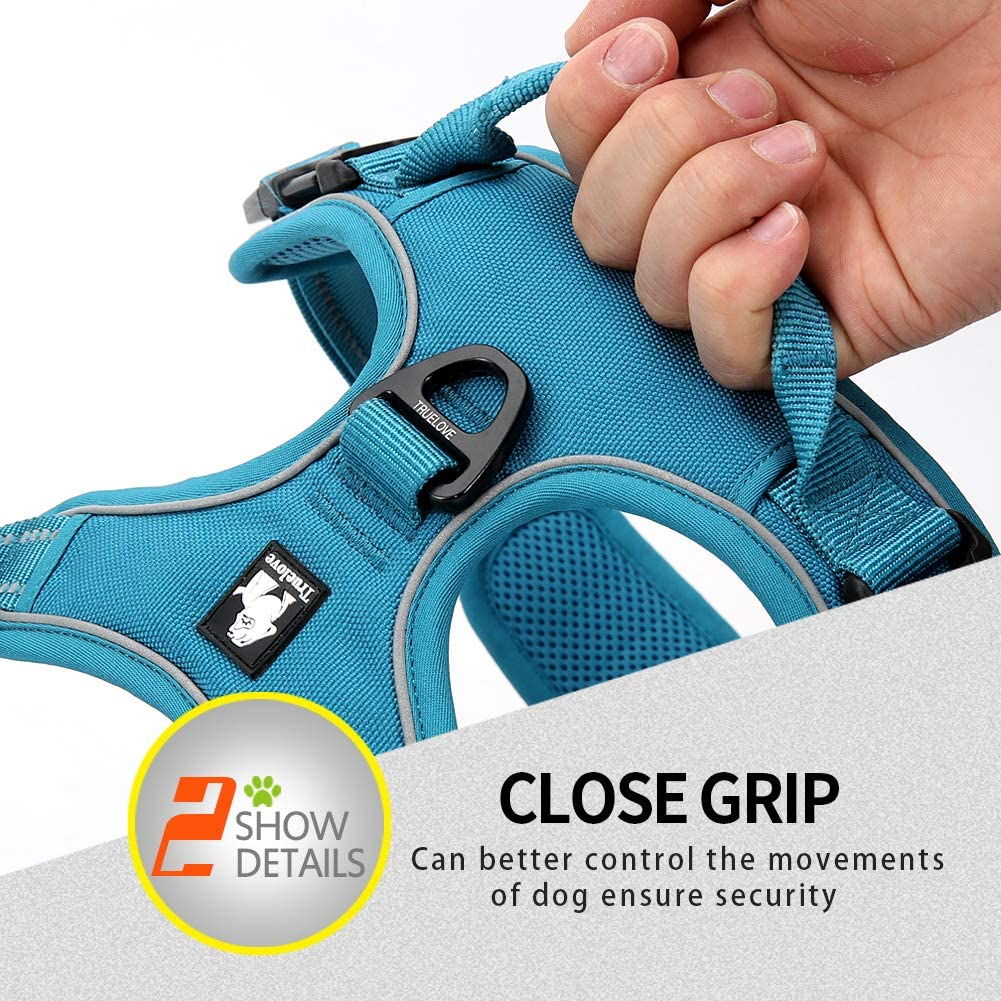 MOKCCI Truelove Soft Front Dog Harness .Best Reflective No Pull Harness with handle and 2 Leash Attachments
