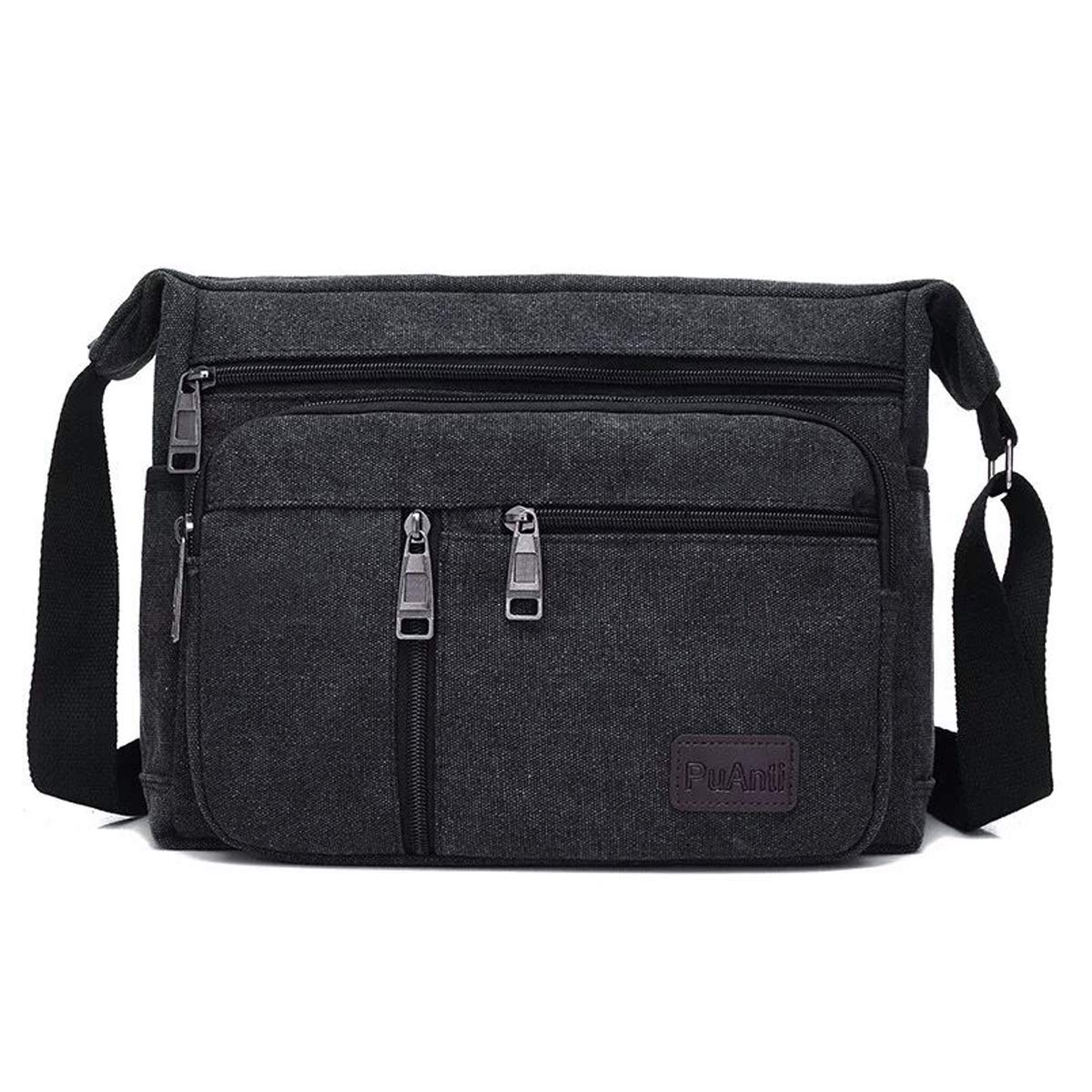 BOMKEE Water Resistant Canvas Crossbody Bag Messenger Bag Satchel Shoulder Sling Working Bag Bookbag Briefcase for Men and Women,Black