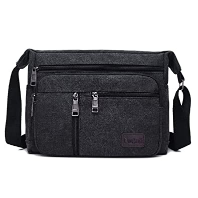 BOMKEE Water Resistant Canvas Crossbody Bag Messenger Bag Satchel Shoulder  Sling Working Bag Bookbag Briefcase for 4f3caa74d6889