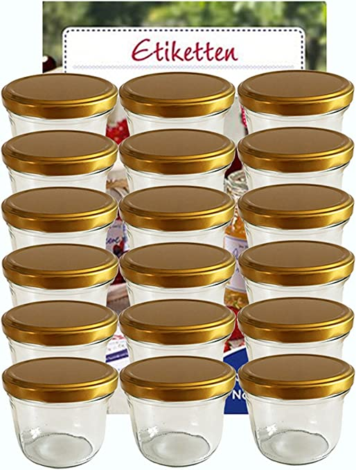 100 x Sturzgläser 53ml Marmeladengläser Einmachgläser incl Goldener Deckel Etike