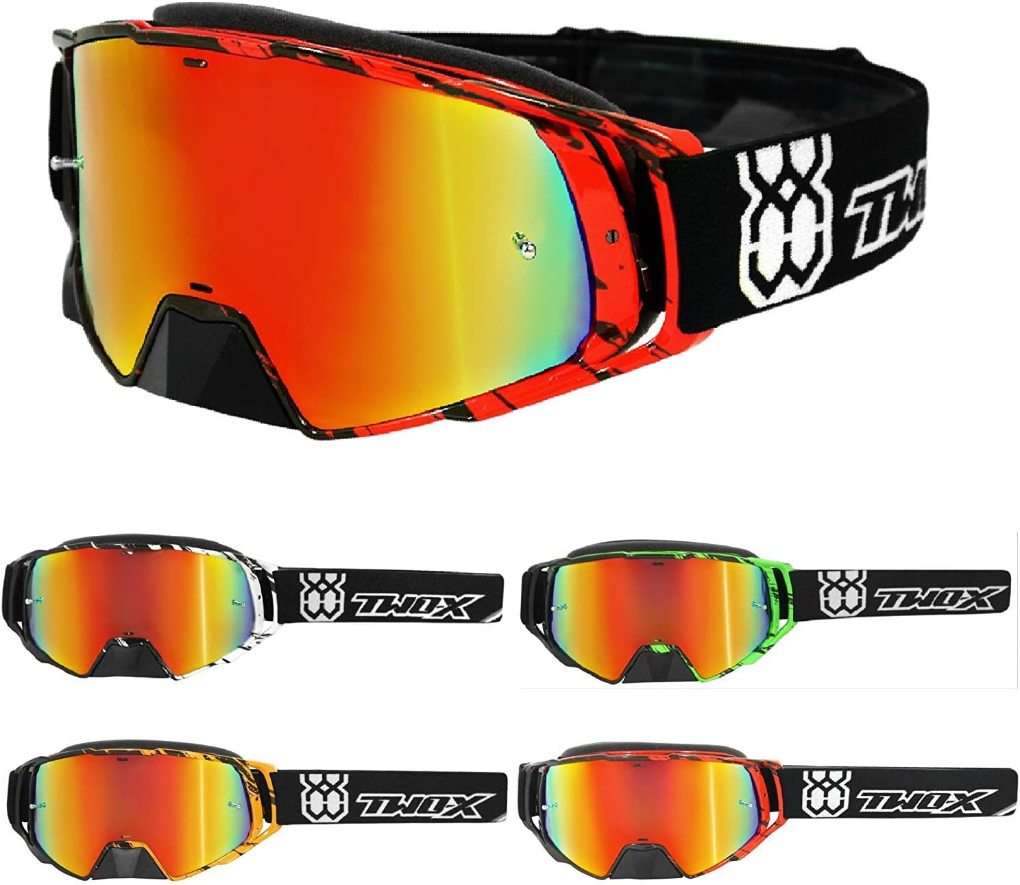 TWO-X Rocket Crush Crossbrille MX Enduro Lunettes Motocross iridium miroir