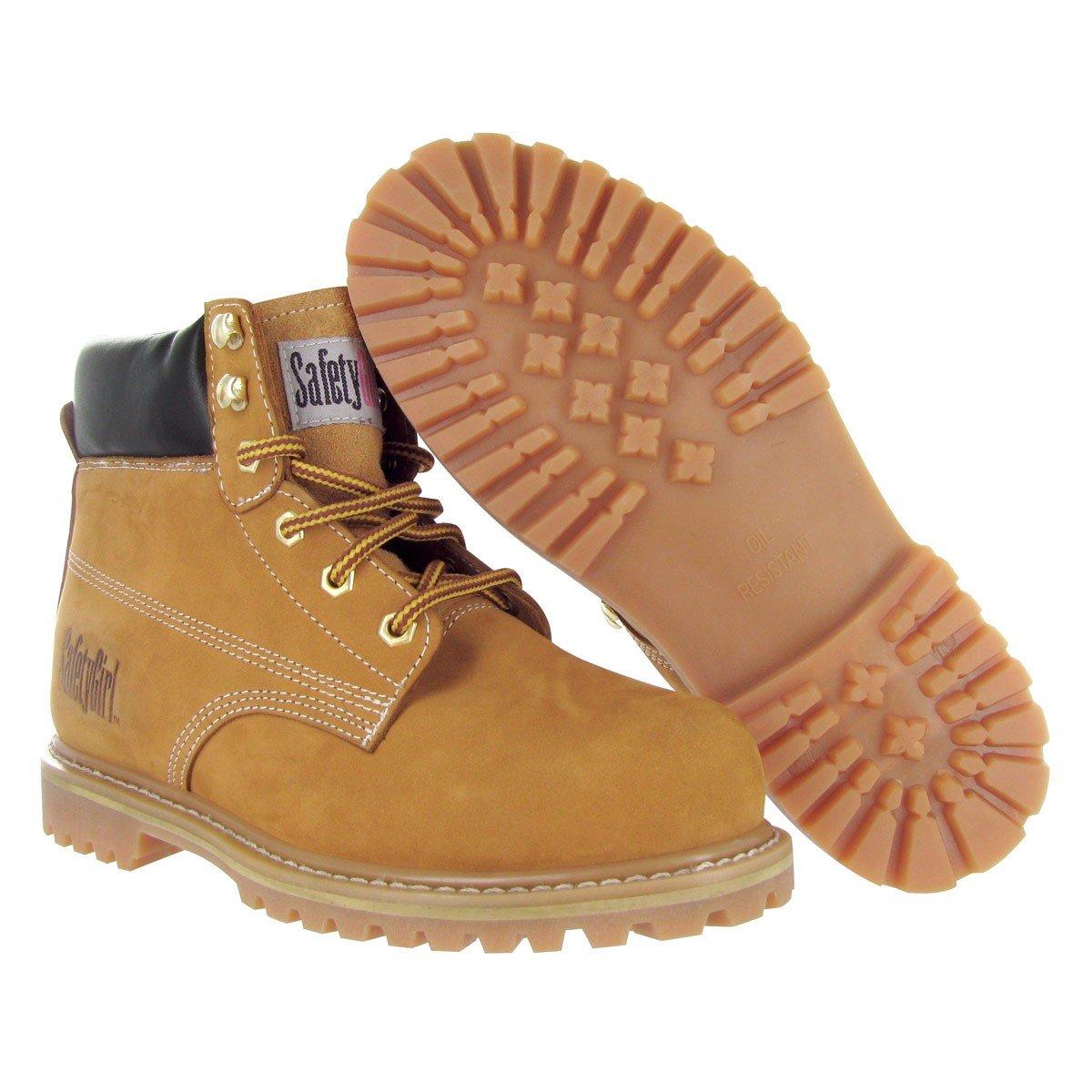 Safety Girl GS003-Tan-7W Steel Toe Work Boots - Tan - 7W, English, Capacity, Volume, Leather, 7W, Tan ()