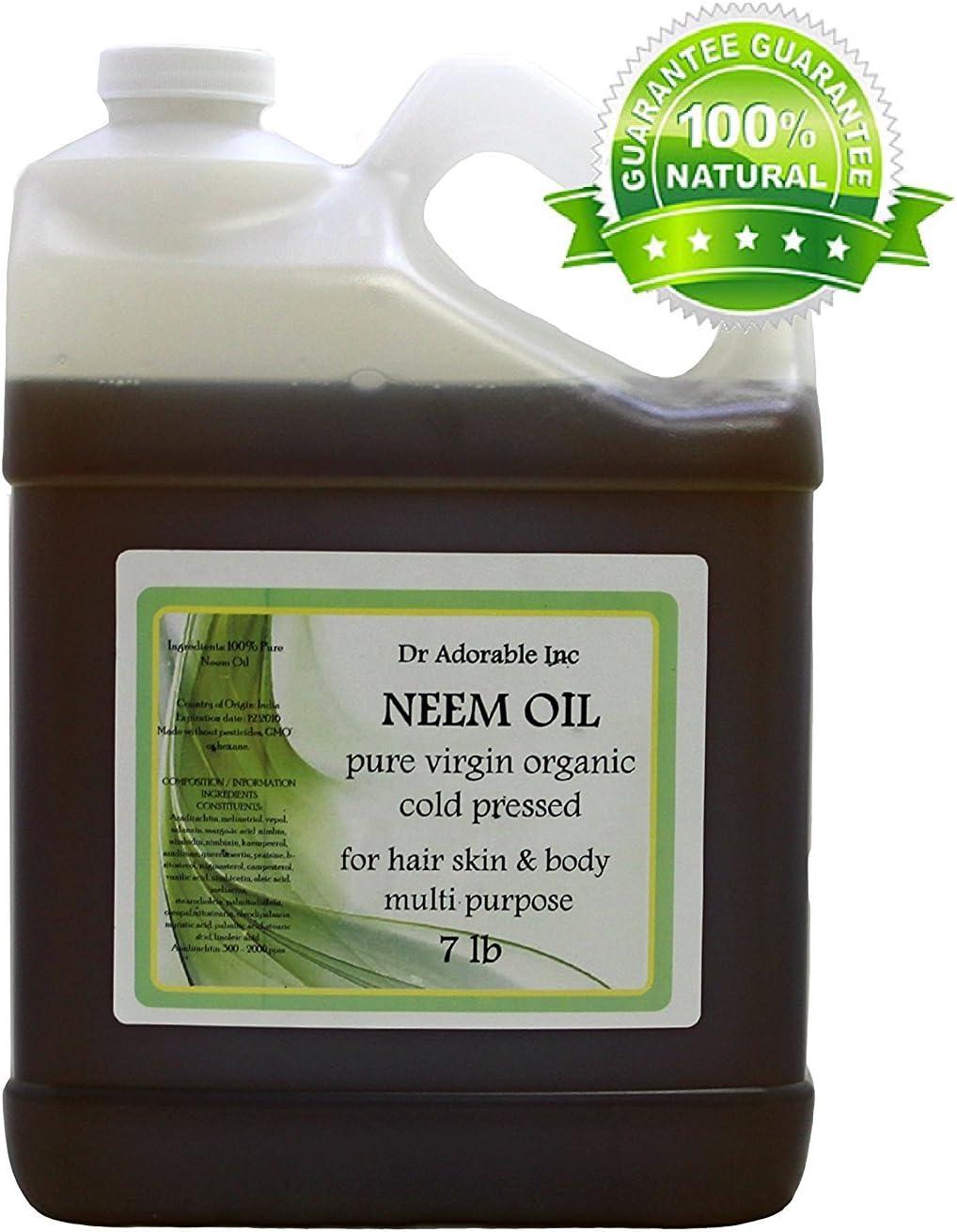 Aceite de neem puro prensado en frío orgánico por Dr. Adorable 128ml/1L/7kg