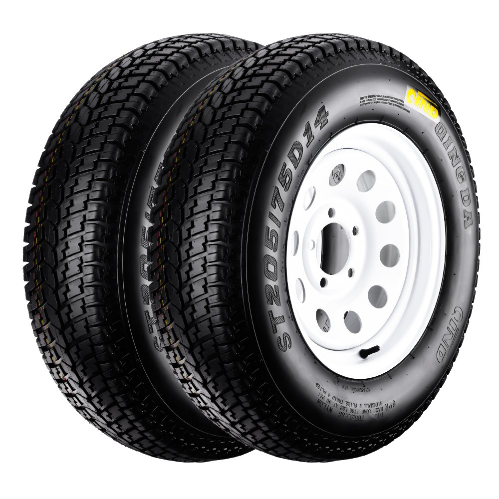 QD-719 Trailer Tires 205/75D-14 6 Ply Load C On White Rims 5 Lug/4.5'' Pack of 2