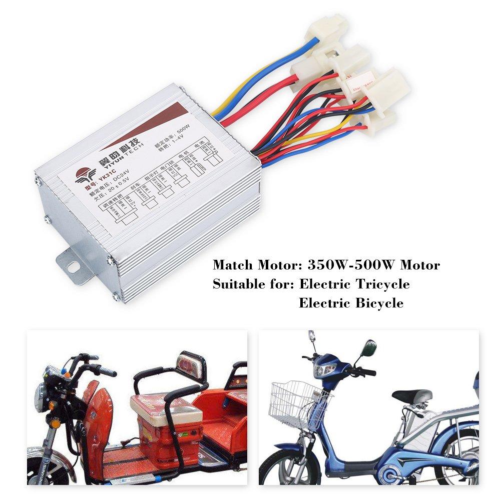 Alomejor El Motor cepilló el regulador de Velocidad Cepillado Motor del regulador 24V 500W para la Bicicleta eléctrica
