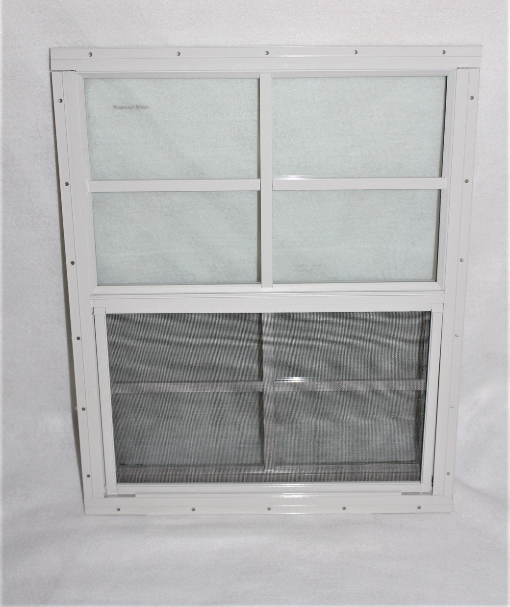 Shed Window 18'' X 23'' White Flush Mount, SAFETY/TEMPERED GLASS Storage Shed , Playhouse