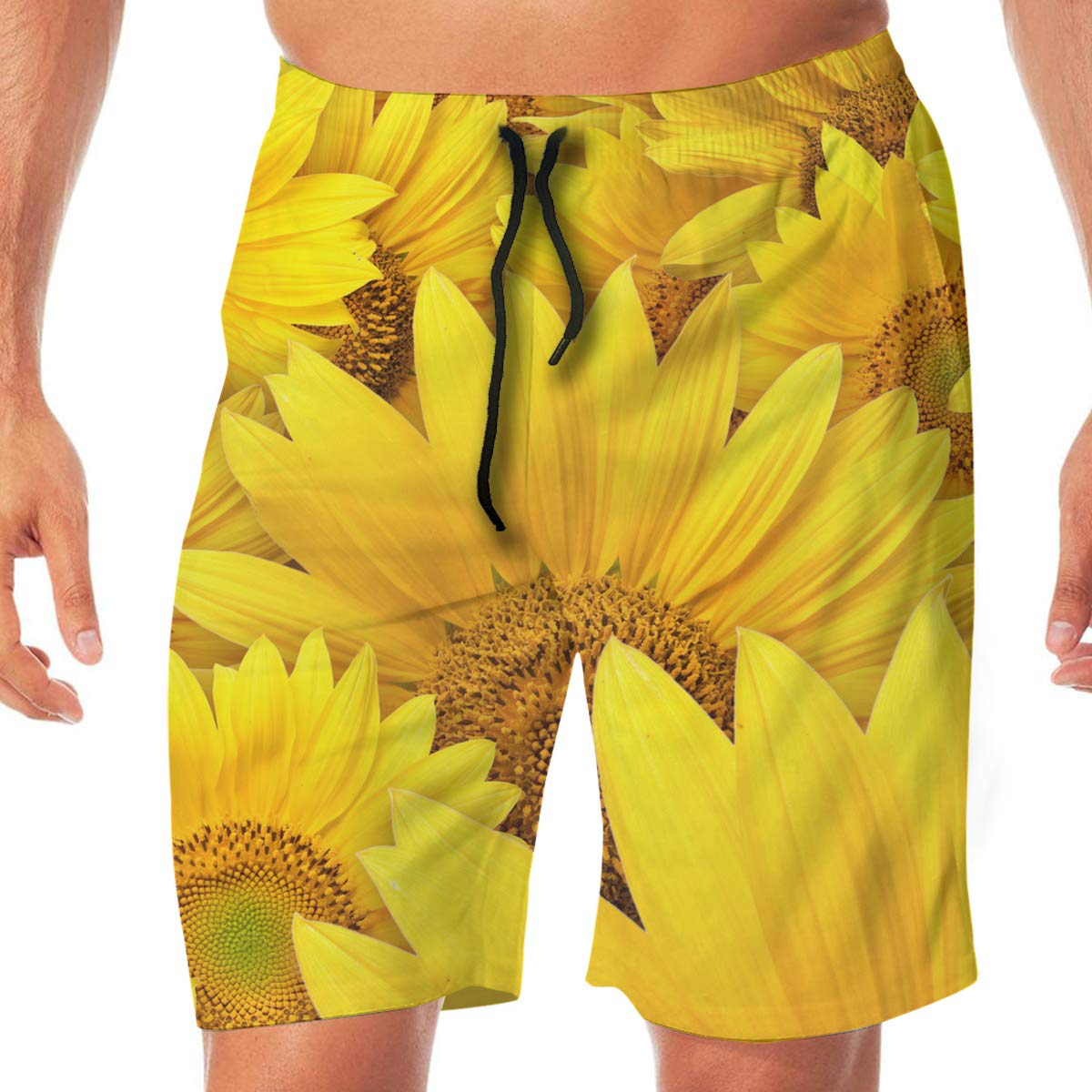 Sunflower Helianthus Mens Beach Shorts Simple Board Pants Adult Surf Beach Trunks Home Leisure Trousers