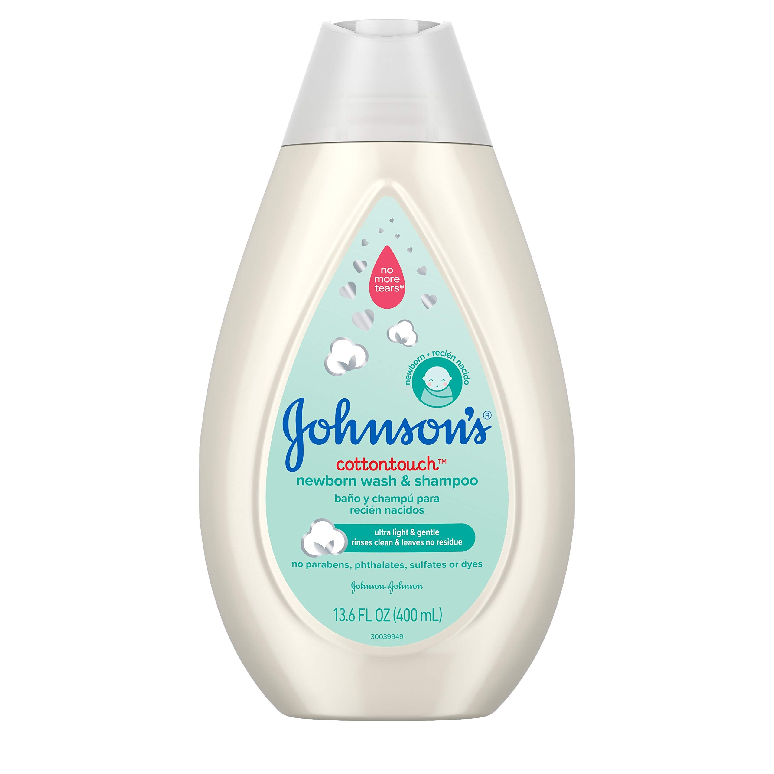 Johnson's CottonTouch Newborn Baby Wash & Shampoo with No More Tears, Sulfate-, Paraben- Free for Sensitive Skin, Made with Real Cotton, Gently Washes Away Dirt & Germs, 13.6 fl. oz