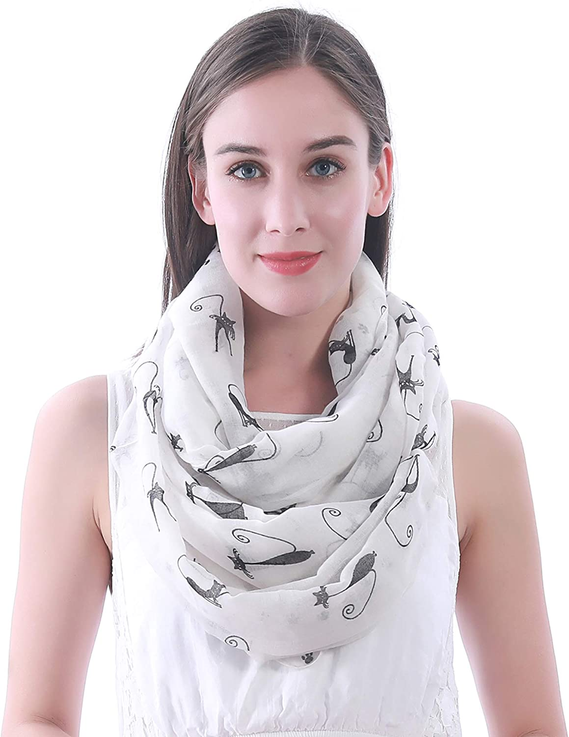 Lina /& Lily Cat Kitten Print Infinity Scarf with Footprints Mint Green