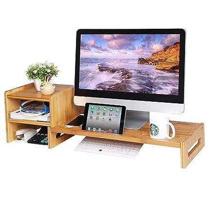 Amazon Com Songmics Bamboo Monitor Stand Riser Laptop Cellphone Tv